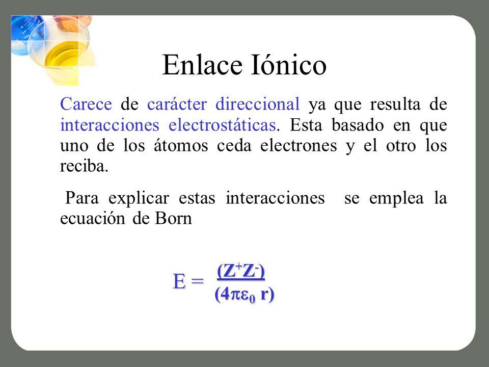 Enlace Iónico Carece de carácter direccional ya que resulta de interacciones electrostáticas.