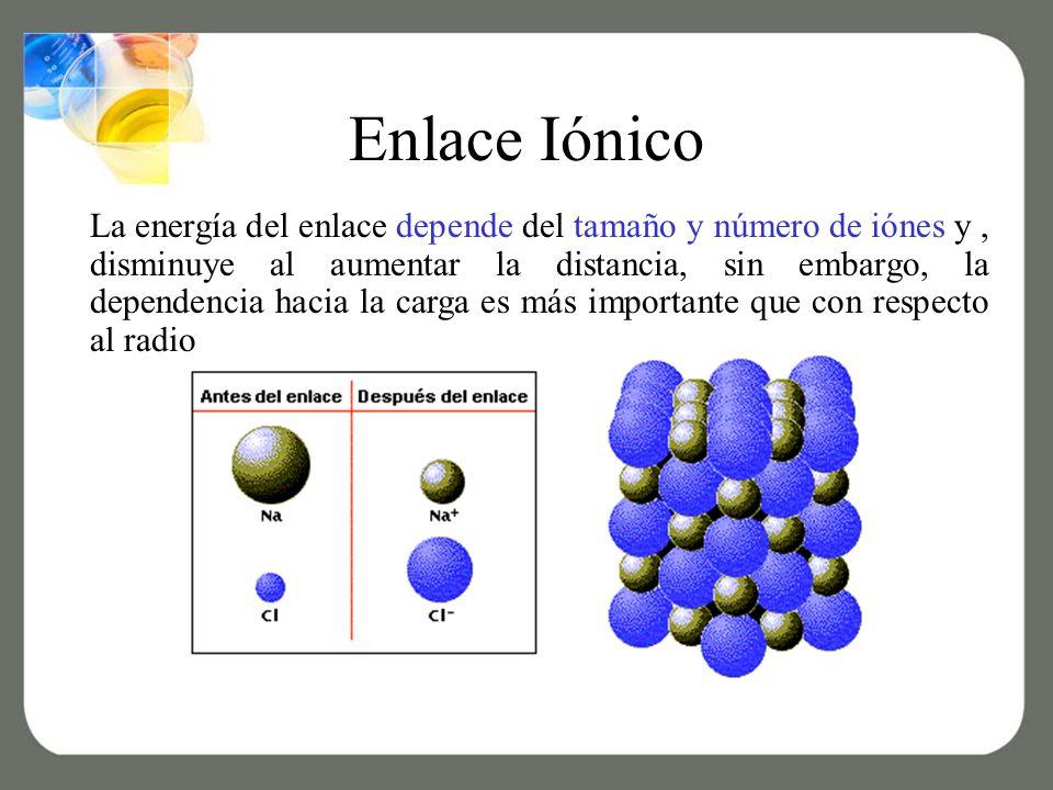 Enlace Iónico La energía del enlace depende del tamaño y número de iónes y, disminuye al aumentar la distancia, sin embargo, la dependencia hacia la carga es más importante que con respecto al radio