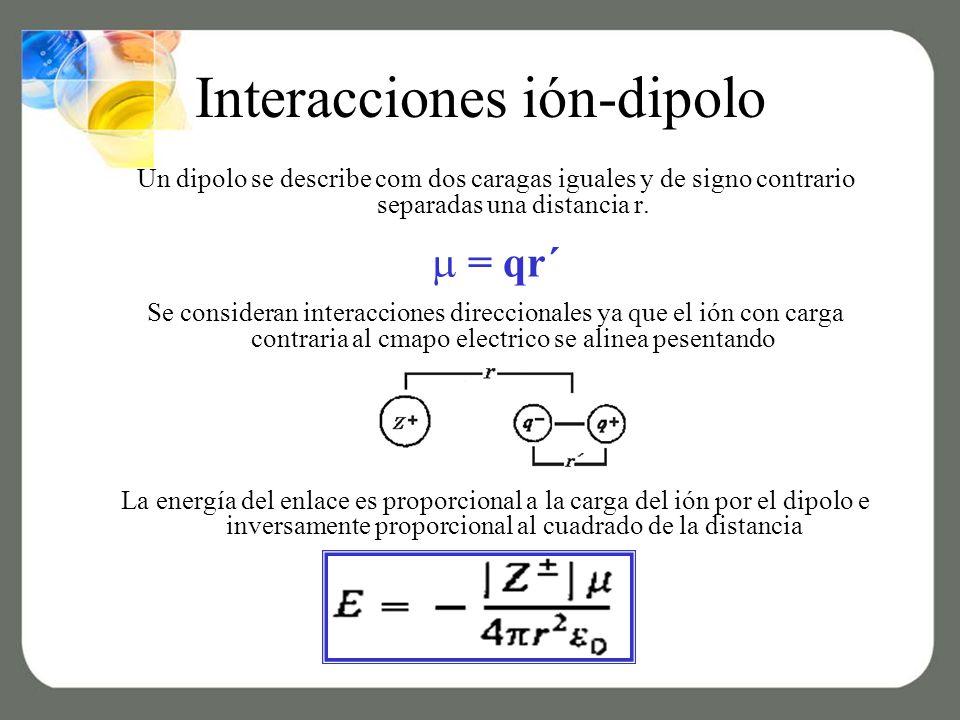 Interacciones ión-dipolo Un dipolo se describe com dos caragas iguales y de signo contrario separadas una distancia r.