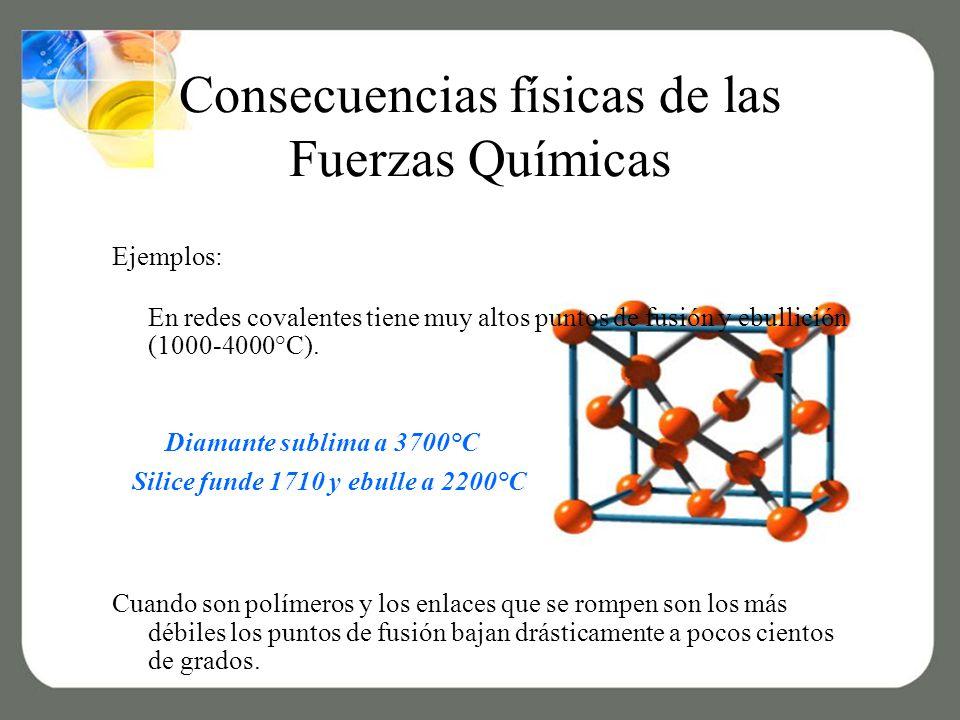 Consecuencias físicas de las Fuerzas Químicas Ejemplos: En redes covalentes tiene muy altos puntos de fusión y ebullición (1000-4000°C).