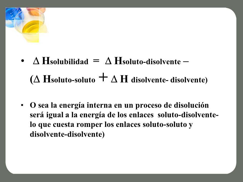 H solubilidad = H soluto-disolvente – ( H soluto-soluto + H disolvente- disolvente) O sea la energía interna en un proceso de disolución será igual a la energía de los enlaces soluto-disolvente- lo que cuesta romper los enlaces soluto-soluto y disolvente-disolvente)