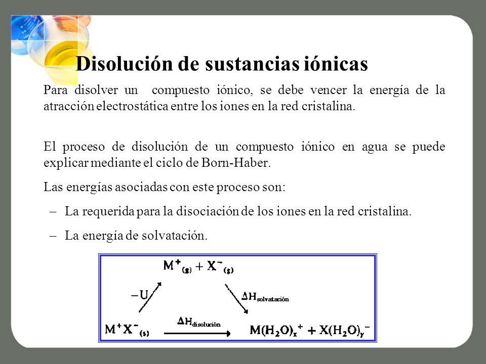 Disolución de sustancias iónicas Para disolver un compuesto iónico, se debe vencer la energía de la atracción electrostática entre los iones en la red cristalina.