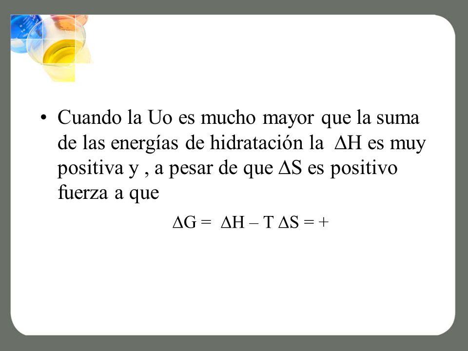 Cuando la Uo es mucho mayor que la suma de las energías de hidratación la H es muy positiva y, a pesar de que S es positivo fuerza a que G = H – T S = +