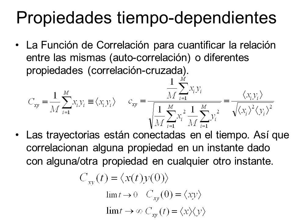 Propiedades tiempo-dependientes La Función de Correlación para cuantificar la relación entre las mismas (auto-correlación) o diferentes propiedades (c