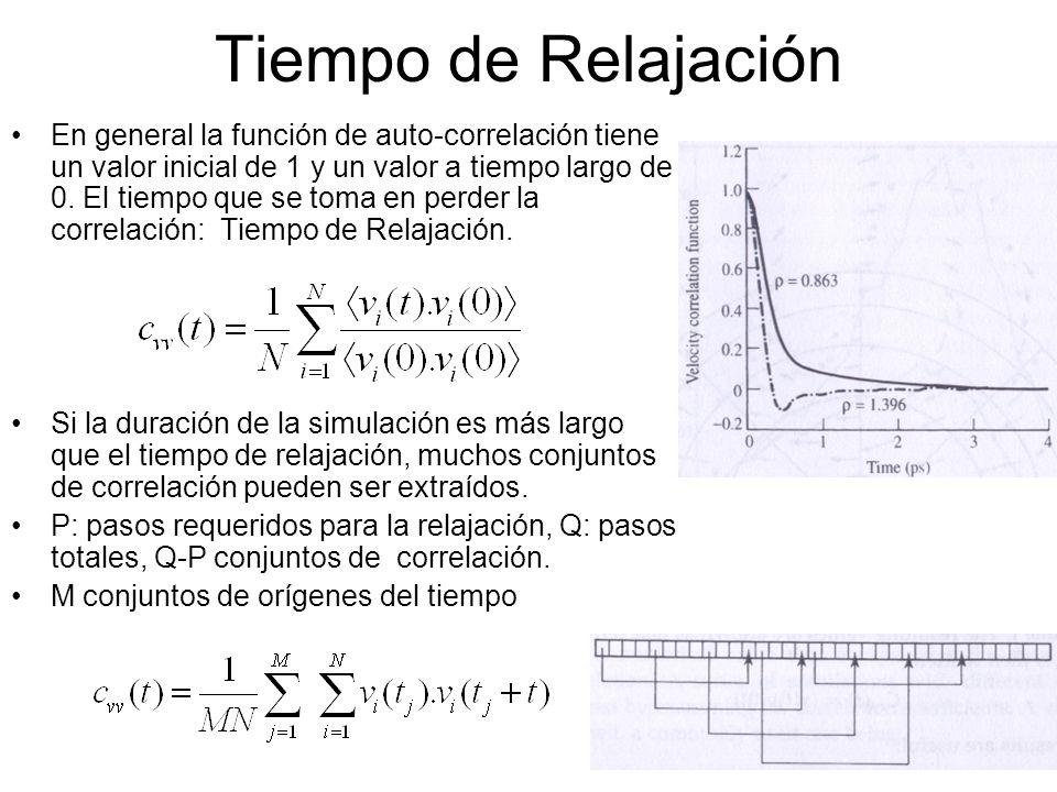 Tiempo de Relajación En general la función de auto-correlación tiene un valor inicial de 1 y un valor a tiempo largo de 0. El tiempo que se toma en pe