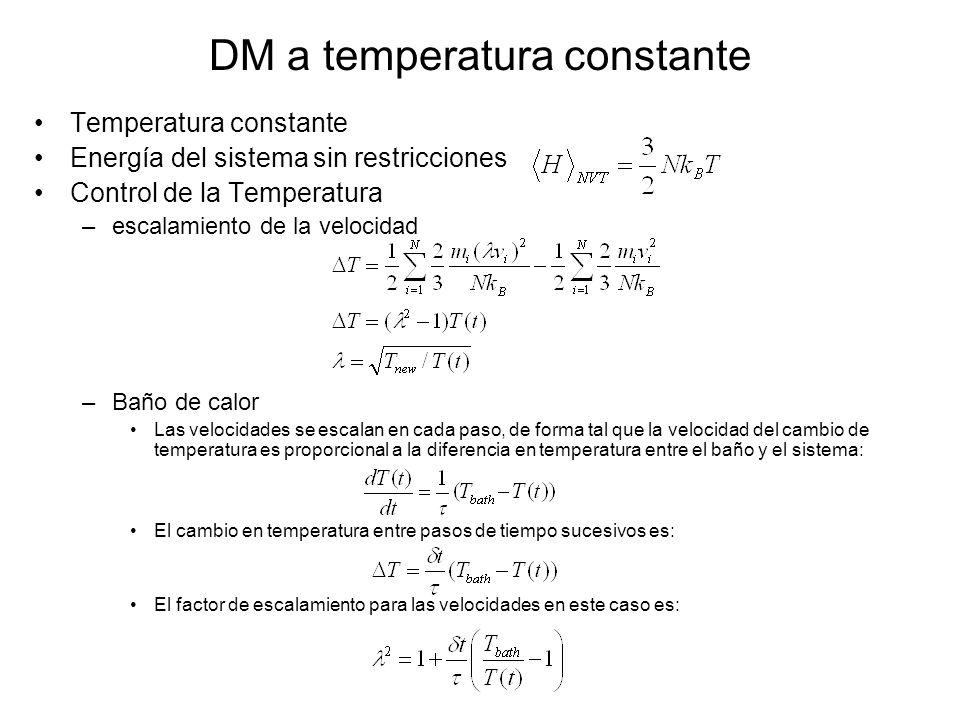 DM a temperatura constante Temperatura constante Energía del sistema sin restricciones Control de la Temperatura –escalamiento de la velocidad –Baño d