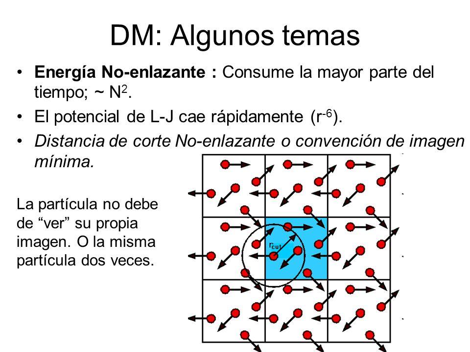 DM: Algunos temas Energía No-enlazante : Consume la mayor parte del tiempo; ~ N 2. El potencial de L-J cae rápidamente (r -6 ). Distancia de corte No-