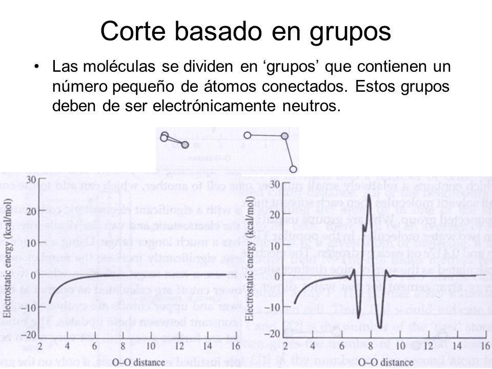 Corte basado en grupos Las moléculas se dividen en grupos que contienen un número pequeño de átomos conectados. Estos grupos deben de ser electrónicam