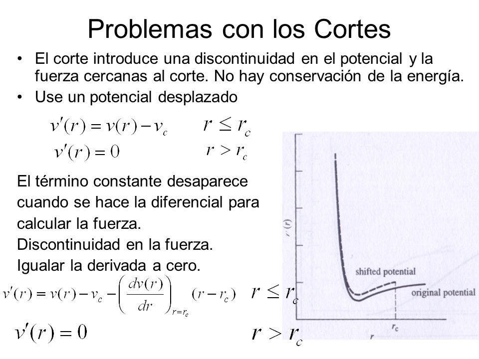Problemas con los Cortes El corte introduce una discontinuidad en el potencial y la fuerza cercanas al corte. No hay conservación de la energía. Use u