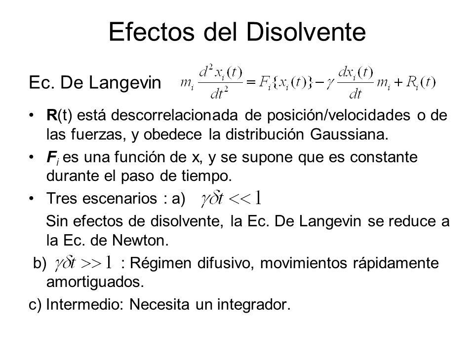 Efectos del Disolvente R(t) está descorrelacionada de posición/velocidades o de las fuerzas, y obedece la distribución Gaussiana. F i es una función d