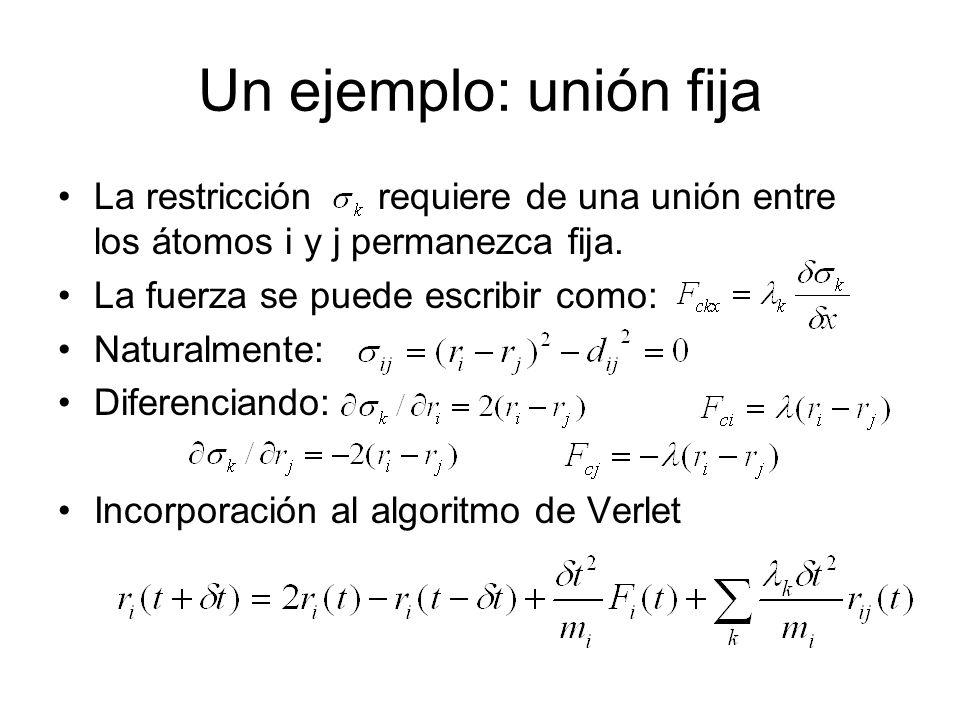 Un ejemplo: unión fija La restricción requiere de una unión entre los átomos i y j permanezca fija. La fuerza se puede escribir como: Naturalmente: Di