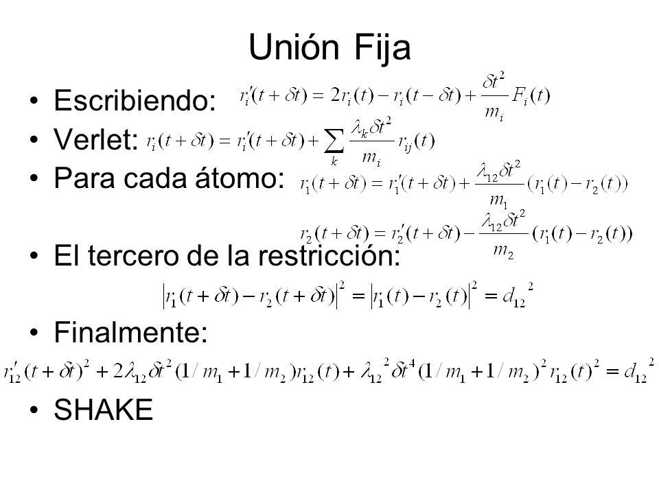 Unión Fija Escribiendo: Verlet: Para cada átomo: El tercero de la restricción: Finalmente: SHAKE