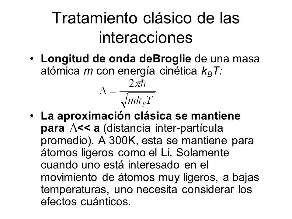 Tratamiento clásico de las interacciones Longitud de onda deBroglie de una masa atómica m con energía cinética k B T: La aproximación clásica se manti