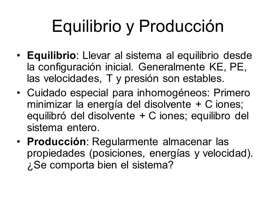 Equilibrio y Producción Equilibrio: Llevar al sistema al equilibrio desde la configuración inicial. Generalmente KE, PE, las velocidades, T y presión