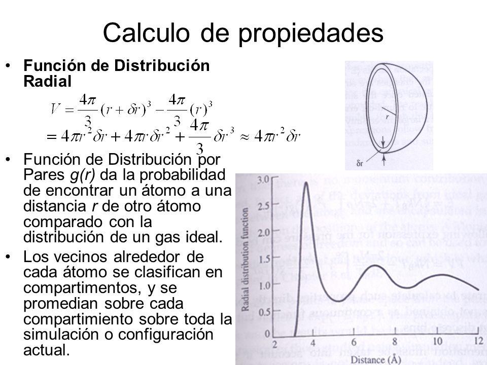 Calculo de propiedades Función de Distribución Radial Función de Distribución por Pares g(r) da la probabilidad de encontrar un átomo a una distancia