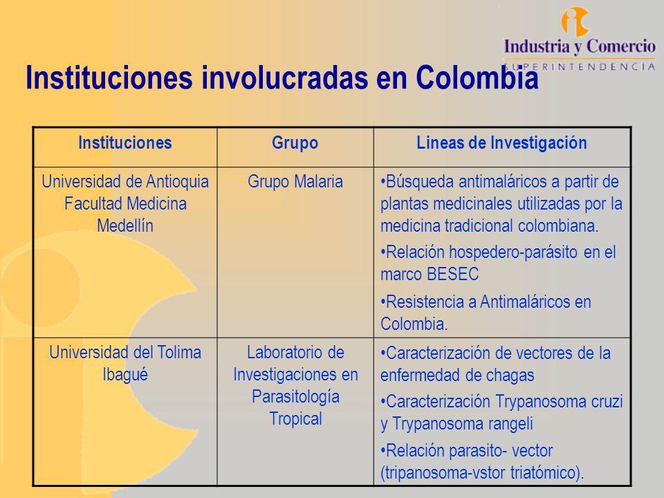 Instituciones involucradas en Colombia InstitucionesGrupoLineas de Investigación Universidad de Antioquia Facultad Medicina Medellín Grupo MalariaBúsq