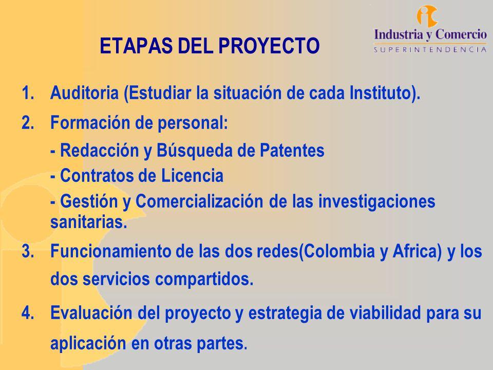 ETAPAS DEL PROYECTO 1.Auditoria (Estudiar la situación de cada Instituto). 2.Formación de personal: - Redacción y Búsqueda de Patentes - Contratos de