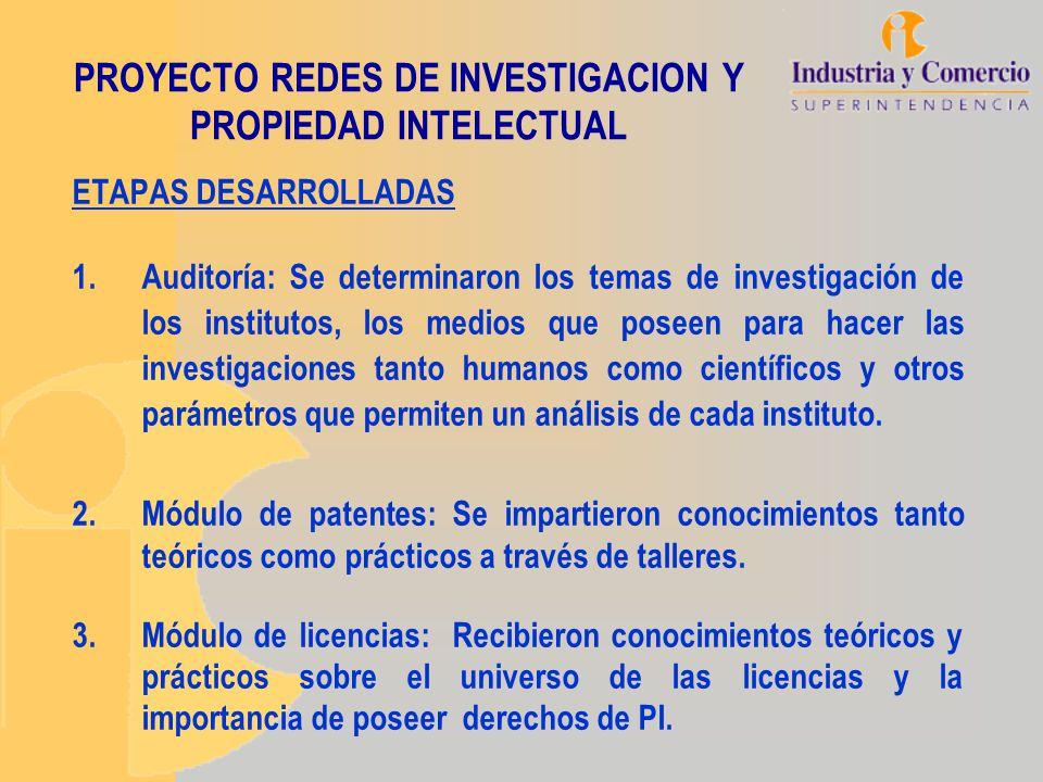 PROYECTO REDES DE INVESTIGACION Y PROPIEDAD INTELECTUAL ETAPAS DESARROLLADAS 1.Auditoría: Se determinaron los temas de investigación de los institutos