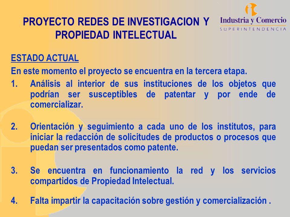 PROYECTO REDES DE INVESTIGACION Y PROPIEDAD INTELECTUAL ESTADO ACTUAL En este momento el proyecto se encuentra en la tercera etapa. 1.Análisis al inte