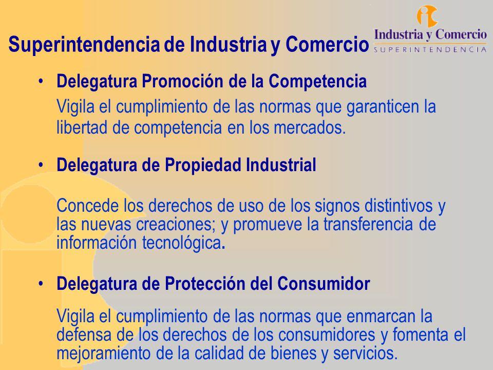 Superintendencia de Industria y Comercio Delegatura Promoción de la Competencia Vigila el cumplimiento de las normas que garanticen la libertad de com
