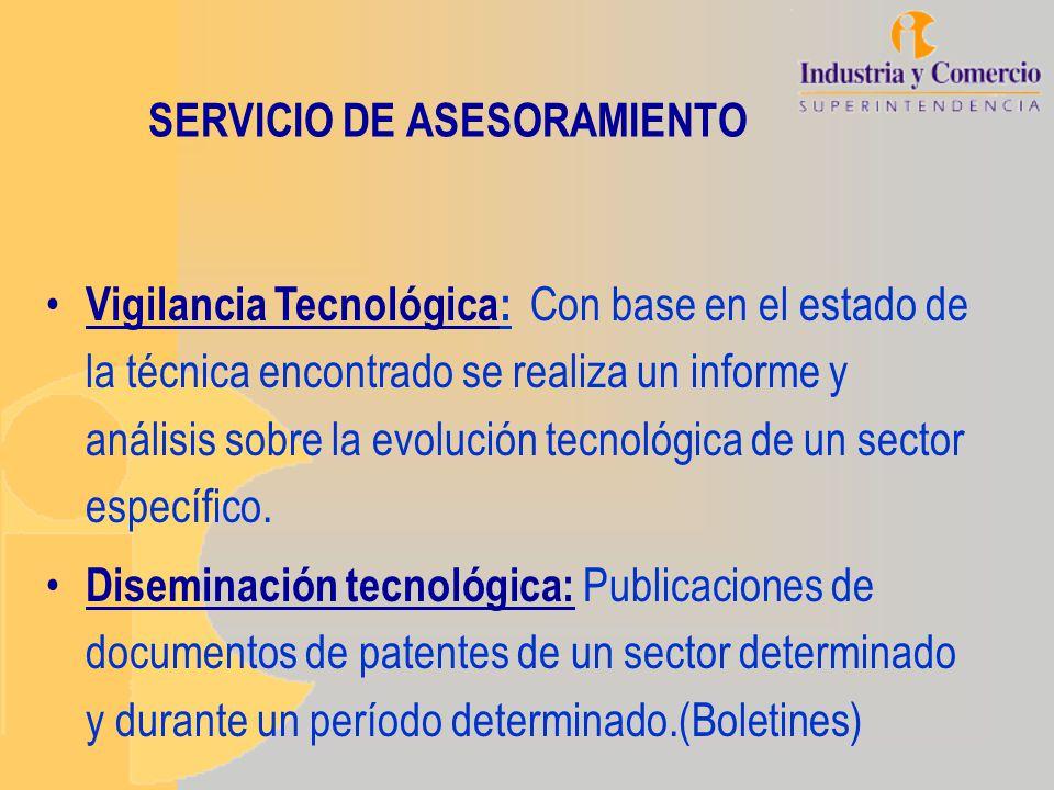SERVICIO DE ASESORAMIENTO Vigilancia Tecnológica: Con base en el estado de la técnica encontrado se realiza un informe y análisis sobre la evolución t
