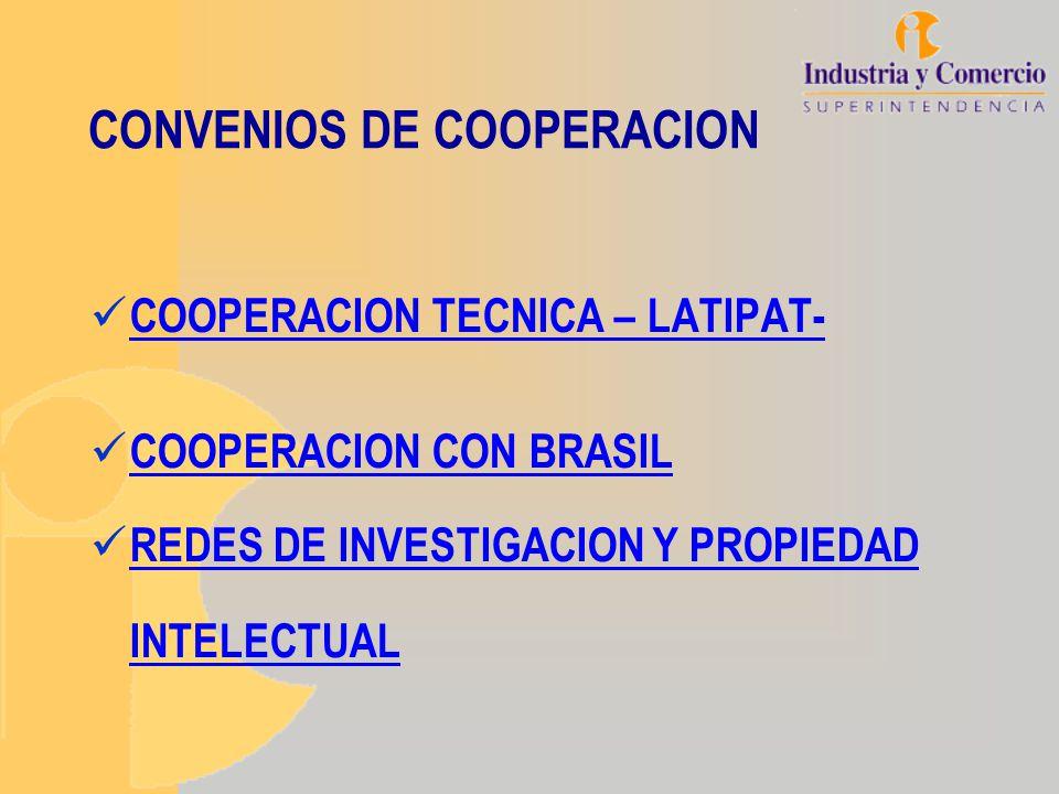 CONVENIOS DE COOPERACION COOPERACION TECNICA – LATIPAT- COOPERACION CON BRASIL REDES DE INVESTIGACION Y PROPIEDAD INTELECTUAL REDES DE INVESTIGACION Y