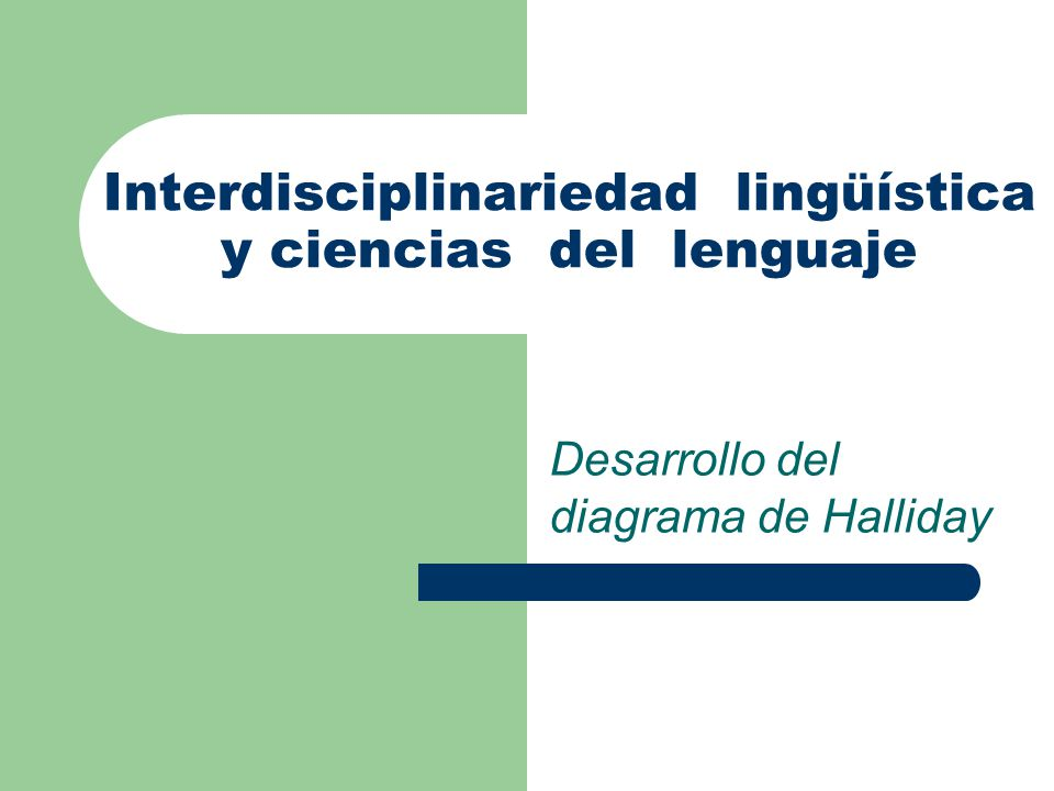 Interdisciplinariedad lingüística y ciencias del lenguaje Desarrollo del diagrama de Halliday