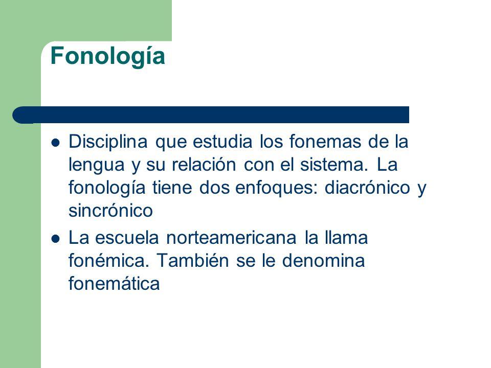 Fonología Disciplina que estudia los fonemas de la lengua y su relación con el sistema. La fonología tiene dos enfoques: diacrónico y sincrónico La es