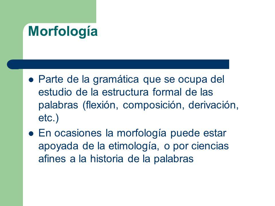 Morfología Parte de la gramática que se ocupa del estudio de la estructura formal de las palabras (flexión, composición, derivación, etc.) En ocasione