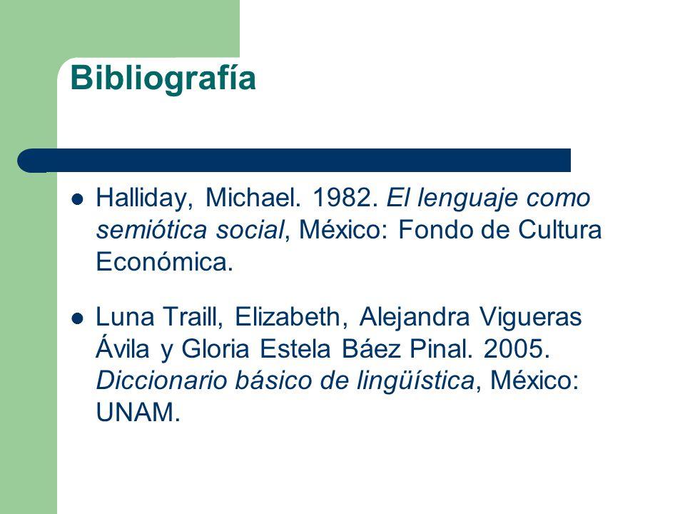 Bibliografía Halliday, Michael. 1982. El lenguaje como semiótica social, México: Fondo de Cultura Económica. Luna Traill, Elizabeth, Alejandra Viguera