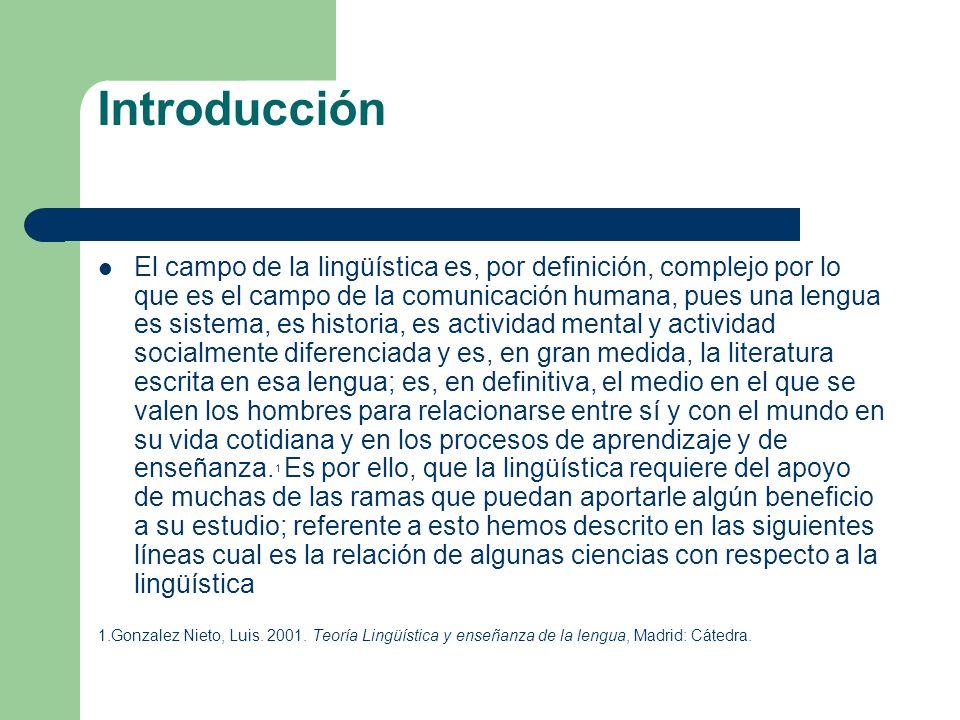 Introducción El campo de la lingüística es, por definición, complejo por lo que es el campo de la comunicación humana, pues una lengua es sistema, es