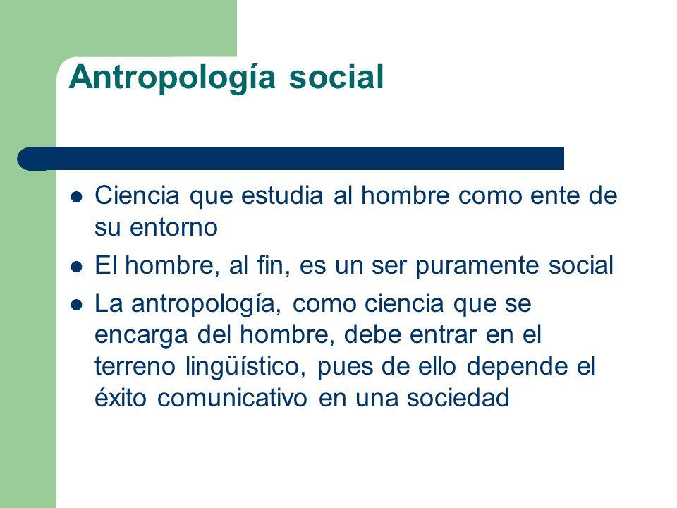 Antropología social Ciencia que estudia al hombre como ente de su entorno El hombre, al fin, es un ser puramente social La antropología, como ciencia
