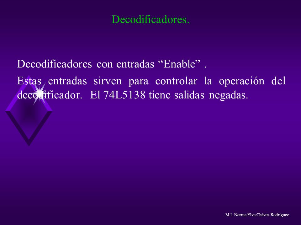 Decodificadores. Decodificadores con entradas Enable. Estas entradas sirven para controlar la operación del decodificador. El 74L5138 tiene salidas ne