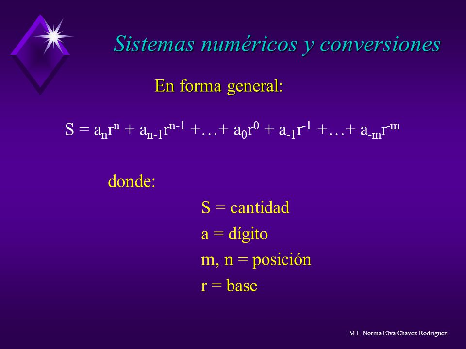 En forma general: S = a n r n + a n-1 r n-1 +…+ a 0 r 0 + a -1 r -1 +…+ a -m r -m donde: S = cantidad a = dígito m, n = posición r = base Sistemas num
