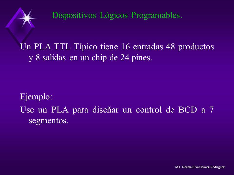 Un PLA TTL Típico tiene 16 entradas 48 productos y 8 salidas en un chip de 24 pines. Ejemplo: Use un PLA para diseñar un control de BCD a 7 segmentos.