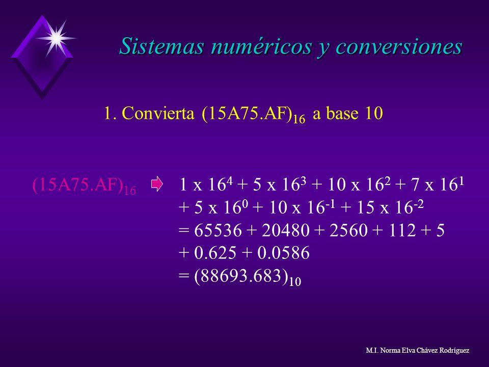 1. Convierta (15A75.AF) 16 a base 10 (15A75.AF) 16 1 x 16 4 + 5 x 16 3 + 10 x 16 2 + 7 x 16 1 + 5 x 16 0 + 10 x 16 -1 + 15 x 16 -2 = 65536 + 20480 + 2