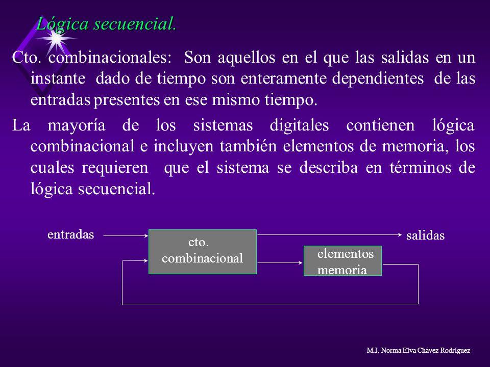 Cto. combinacionales: Son aquellos en el que las salidas en un instante dado de tiempo son enteramente dependientes de las entradas presentes en ese m