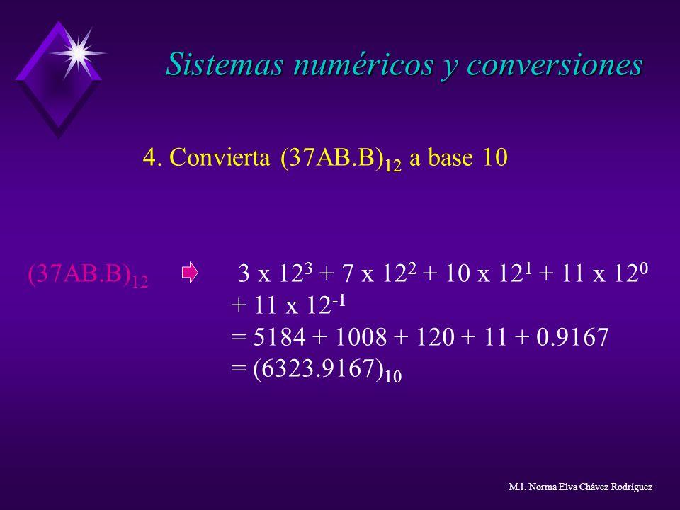 4. Convierta (37AB.B) 12 a base 10 (37AB.B) 12 3 x 12 3 + 7 x 12 2 + 10 x 12 1 + 11 x 12 0 + 11 x 12 -1 = 5184 + 1008 + 120 + 11 + 0.9167 = (6323.9167