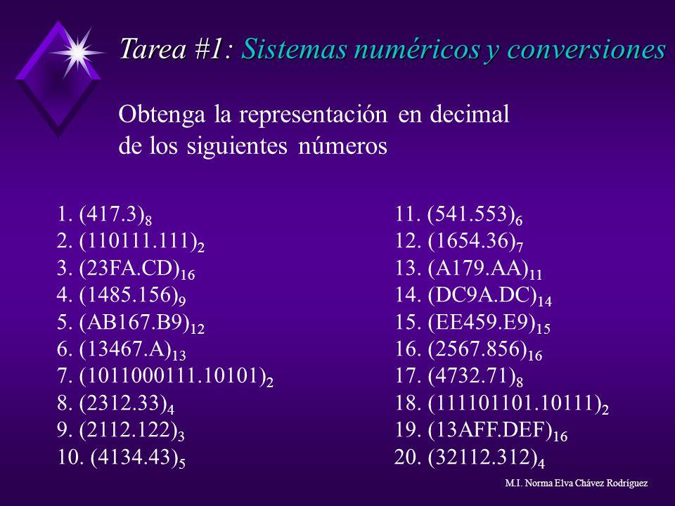 Tarea #1: Sistemas numéricos y conversiones Obtenga la representación en decimal de los siguientes números 1. (417.3) 8 11. (541.553) 6 2. (110111.111