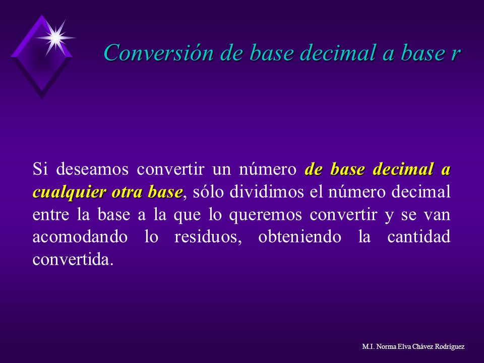 Conversión de base decimal a base r de base decimal a cualquier otra base Si deseamos convertir un número de base decimal a cualquier otra base, sólo