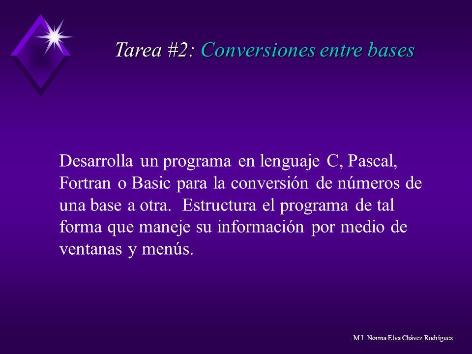 Tarea #2: Conversiones entre bases Desarrolla un programa en lenguaje C, Pascal, Fortran o Basic para la conversión de números de una base a otra. Est