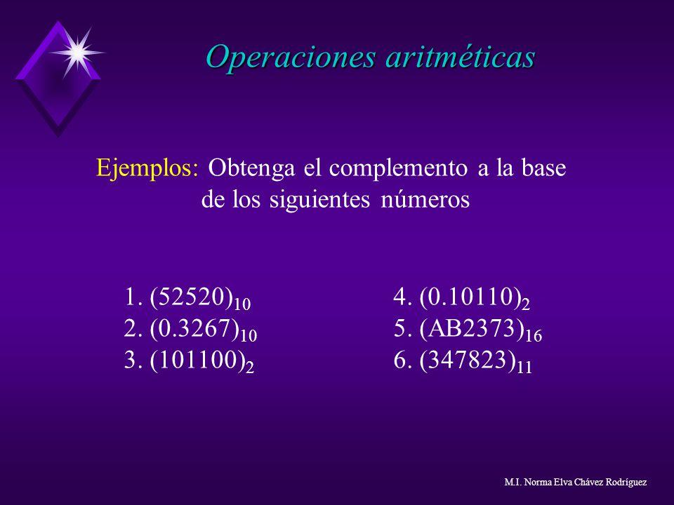 Operaciones aritméticas Ejemplos: Obtenga el complemento a la base de los siguientes números 1. (52520) 10 4. (0.10110) 2 2. (0.3267) 10 5. (AB2373) 1
