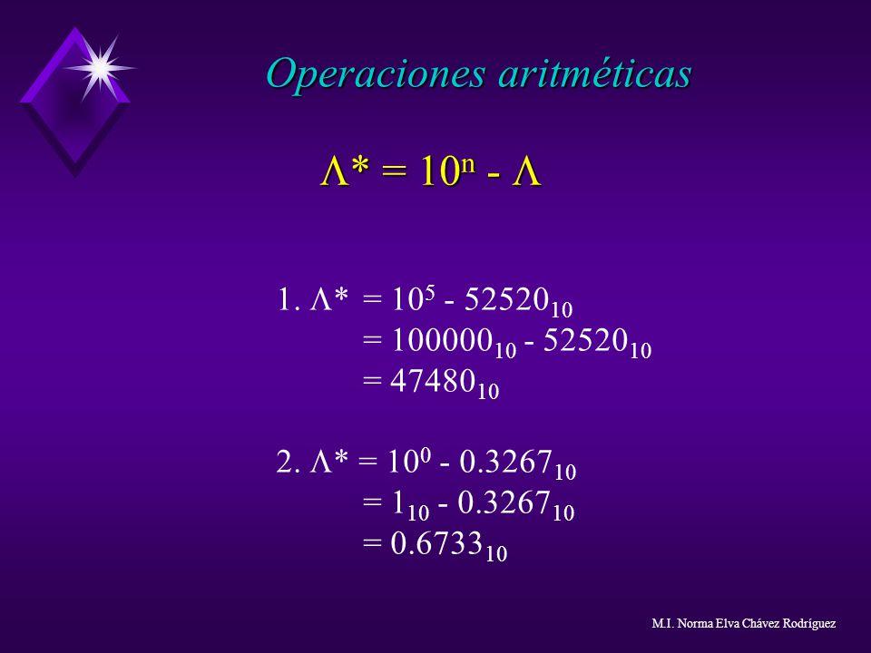 1. * = 10 5 - 52520 10 = 100000 10 - 52520 10 = 47480 10 2. * = 10 0 - 0.3267 10 = 1 10 - 0.3267 10 = 0.6733 10 Operaciones aritméticas * = 10 n - * =