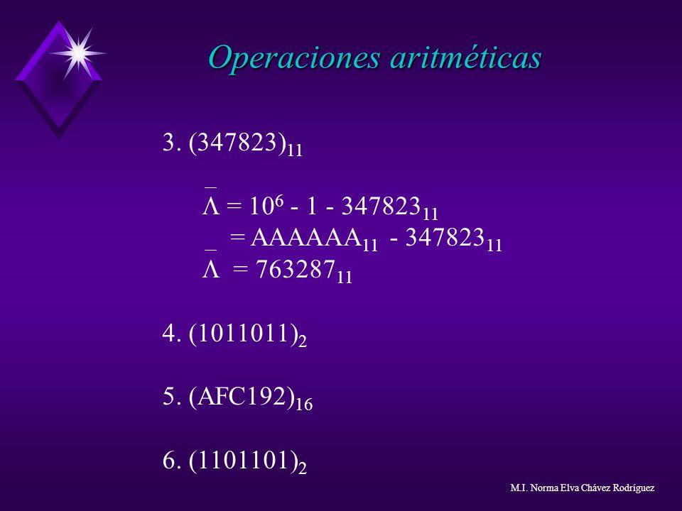 Operaciones aritméticas 3. (347823) 11 = 10 6 - 1 - 347823 11 = AAAAAA 11 - 347823 11 = 763287 11 4. (1011011) 2 5. (AFC192) 16 6. (1101101) 2 M.I. No