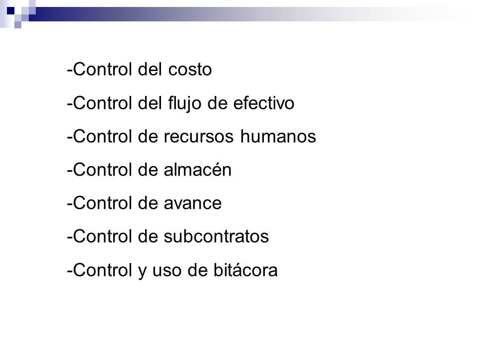 -Control del costo -Control del flujo de efectivo -Control de recursos humanos -Control de almacén -Control de avance -Control de subcontratos -Control y uso de bitácora