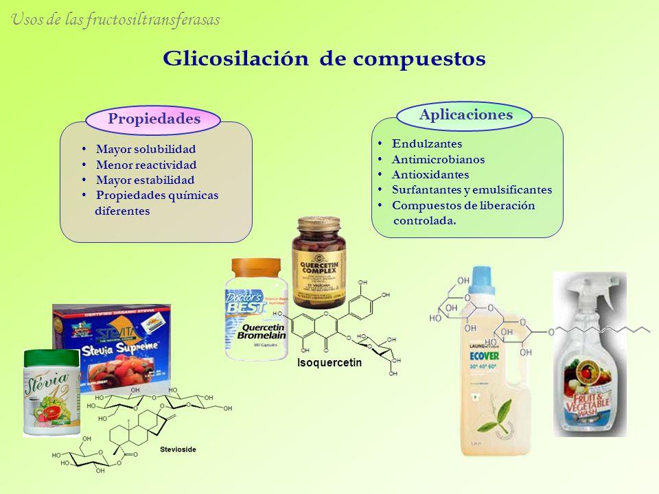 Mayor solubilidad Menor reactividad Mayor estabilidad Propiedades químicas diferentes Propiedades Aplicaciones Endulzantes Antimicrobianos Antioxidant