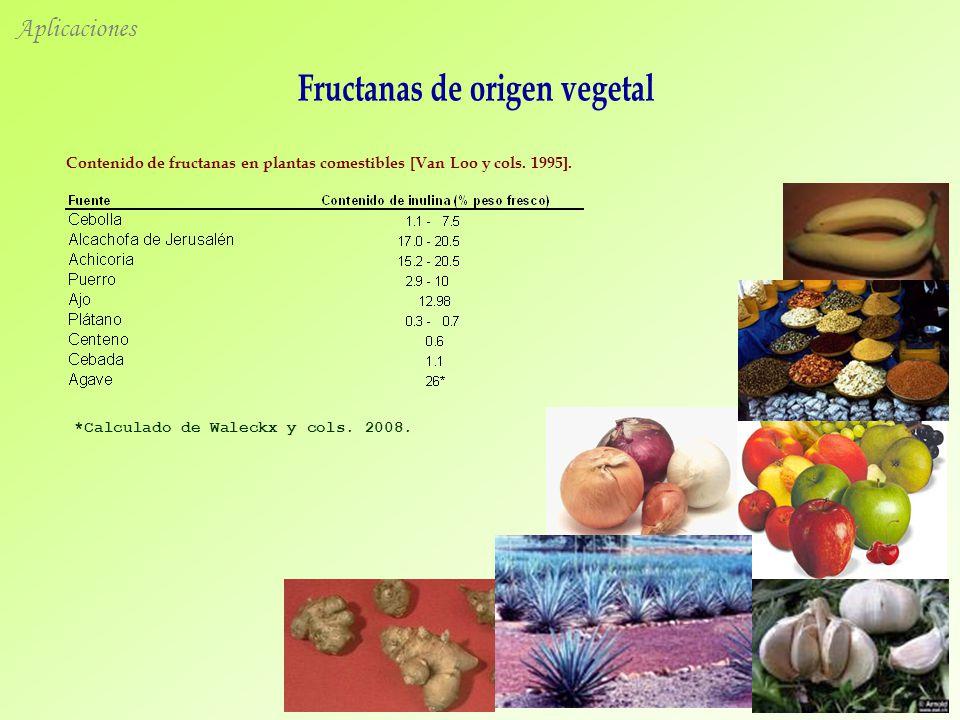 Aplicaciones Contenido de fructanas en plantas comestibles [Van Loo y cols.
