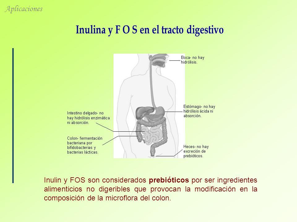 Aplicaciones Inulin y FOS son considerados prebióticos por ser ingredientes alimenticios no digeribles que provocan la modificación en la composición de la microflora del colon.