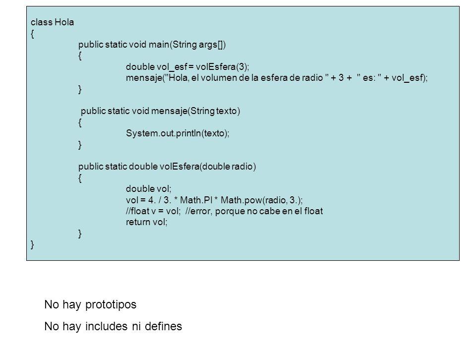 class Hola { public static void main(String args[]) { double vol_esf = volEsfera(3); mensaje( Hola, el volumen de la esfera de radio + 3 + es: + vol_esf); } public static void mensaje(String texto) { System.out.println(texto); } public static double volEsfera(double radio) { double vol; vol = 4.