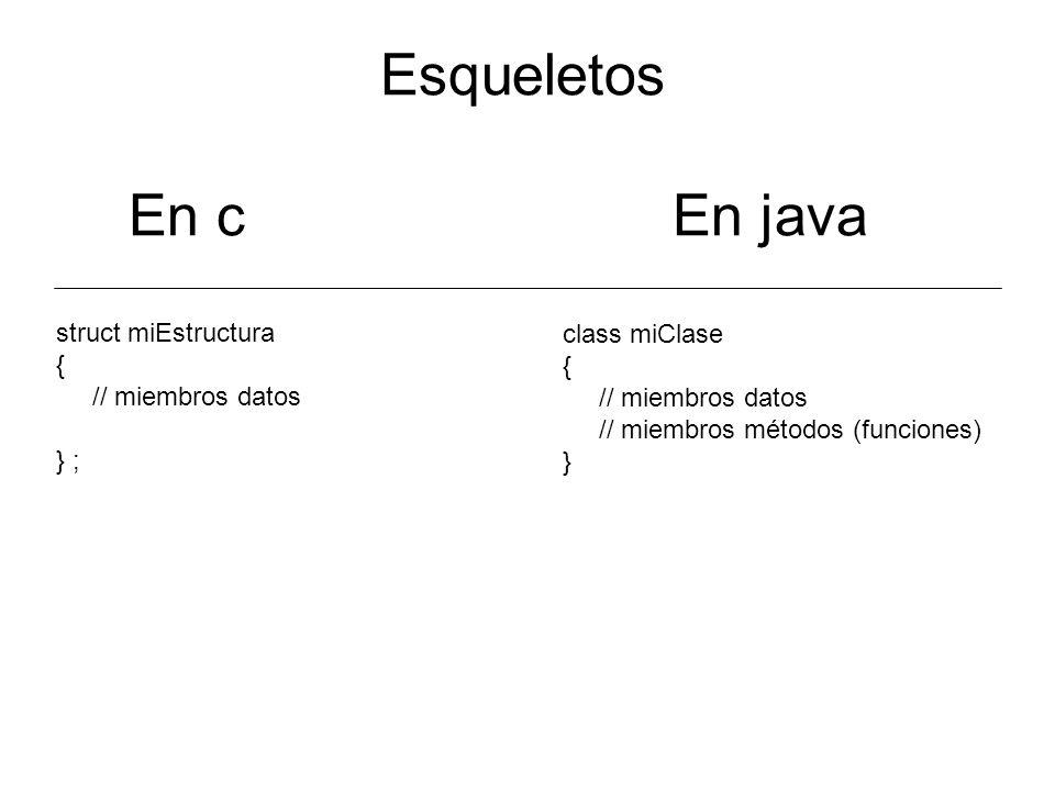 Esqueletos En c En java struct miEstructura { // miembros datos } ; class miClase { // miembros datos // miembros métodos (funciones) }